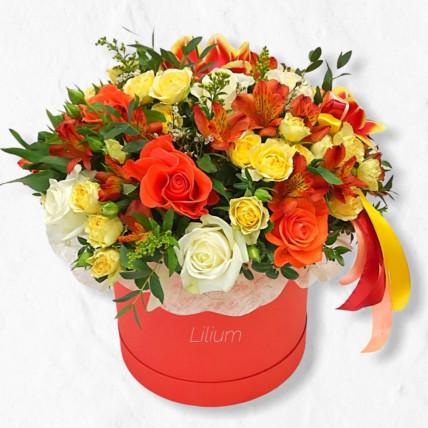 """Цветы в коробе """" Оранжевое солнце"""""""