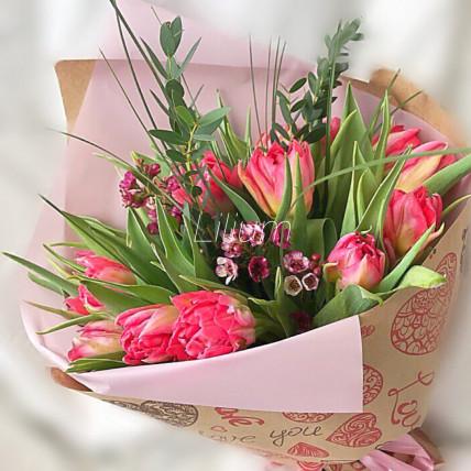 """Букет из тюльпанов """"Сердечко"""""""