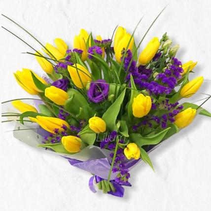 Букет из Жёлтых тюльпанов и статицей