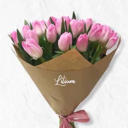 Букет 29 розовых тюльпанов