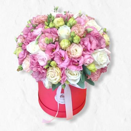 """Цветы в коробке """" Розовое кружево """""""