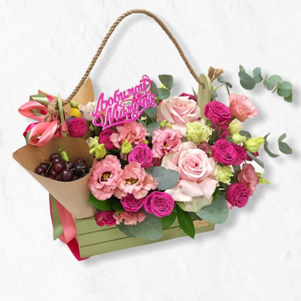 """Цветы в ящике """" Для самого дорогого человека"""""""
