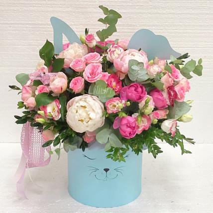 """Цветы в коробке """"Зайка"""""""