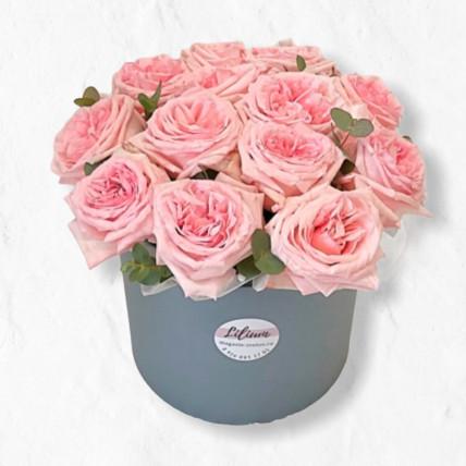 """Розы в коробке """" Нежный рассвет"""""""