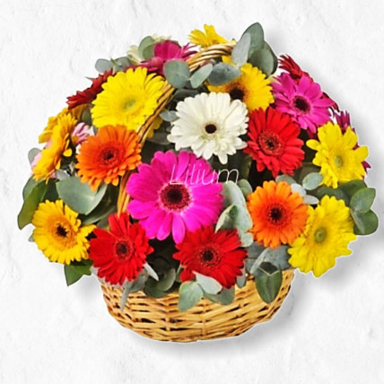 Корзина цветов из гербер