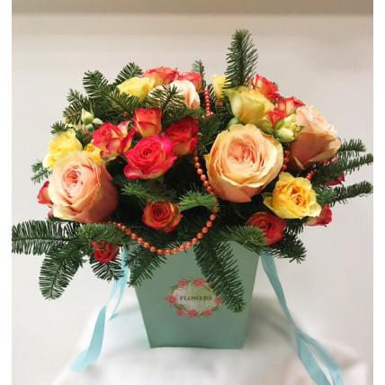 """Цветы в коробке """"Зимняя сказка"""""""